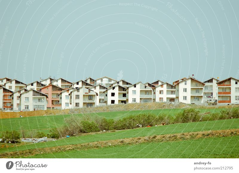 Modern village Summer Living or residing Flat (apartment) House (Residential Structure) Dream house House building Construction site Meadow Village Small Town