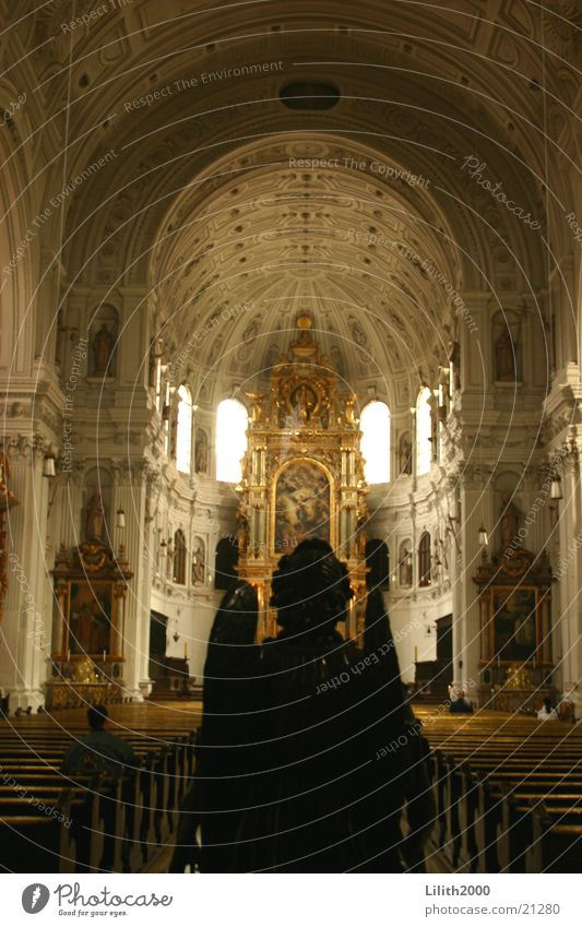 Black Window Religion and faith Gold Angel Munich Statue Dome Arch House of worship Frauenkirche Altar