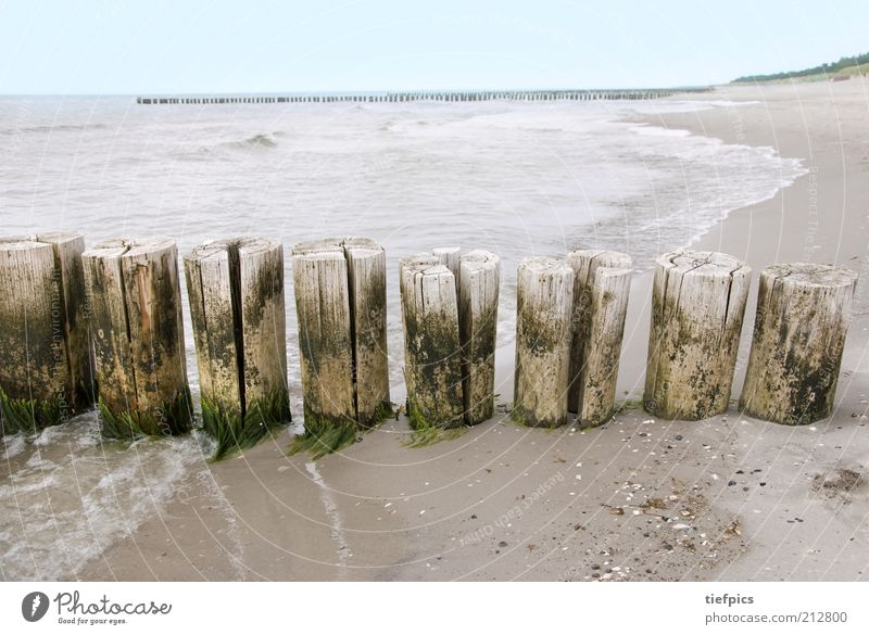 Water Ocean Blue Summer Beach Vacation & Travel Clouds Far-off places Wood Sadness Sand Coast Waves Germany Romance Wild