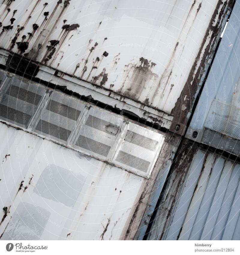cargo embargo Industrial plant Factory Manmade structures Metal Subdued colour Exterior shot Close-up Detail Abstract Pattern Copy Space left Copy Space right