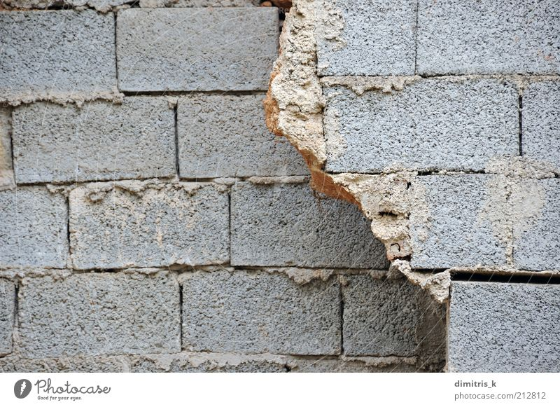broken wall Building Architecture Wall (barrier) Wall (building) Concrete Brick Gray Decline cinder block cinder-block Cement Background picture construction