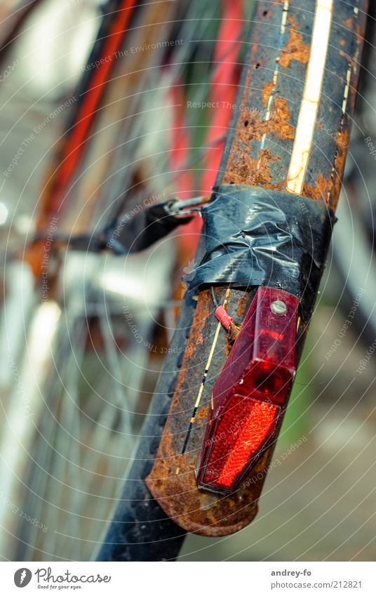 Old Red Black Metal Brown Bicycle Broken String Transience Past Rust Wheel Destruction Rear light Guard