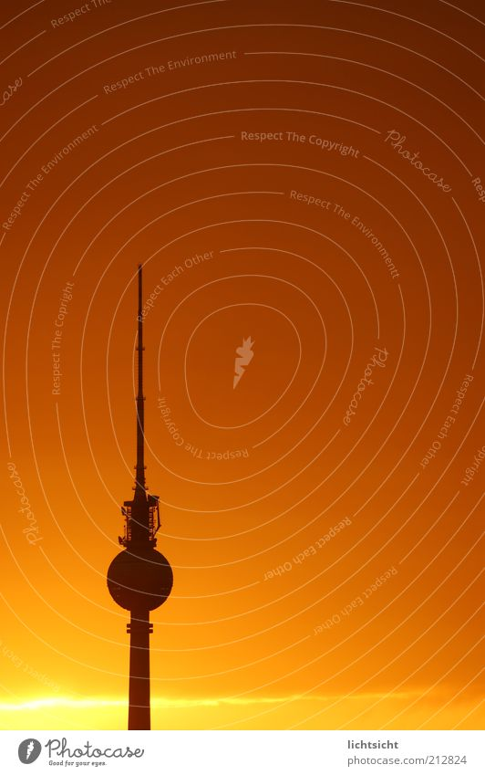 Berlin television tower before sunset Vacation & Travel Tourism Sky Weather Beautiful weather Capital city Tower Manmade structures Antenna Tourist Attraction