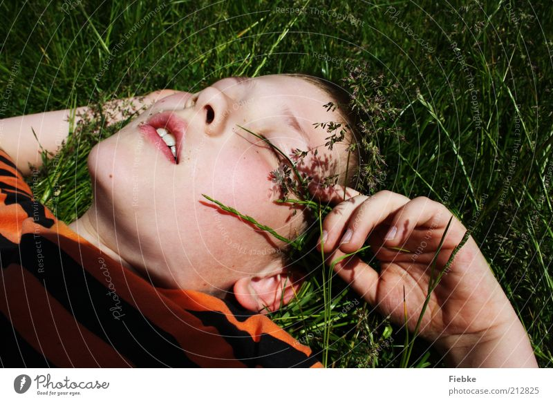 Nature Youth (Young adults) Summer Face Vacation & Travel Calm Relaxation Boy (child) Meadow Grass Freedom Dream Warmth Contentment Blonde