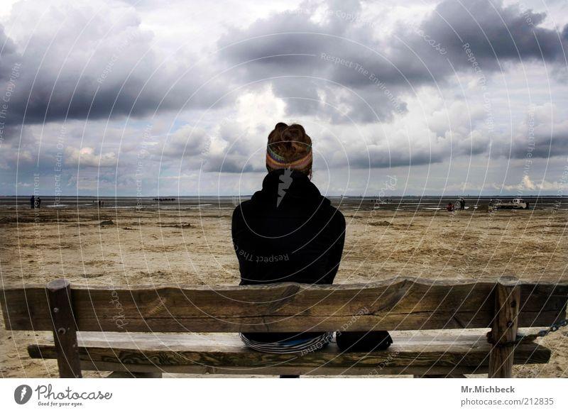 sandbank 1 Human being Nature Landscape Sand Air Water Sky Clouds Storm clouds Horizon Wind Coast Beach North Sea Headband Brunette Curl Wood Think Dream