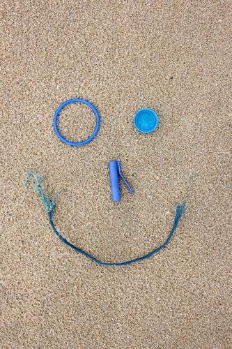 Blue Joy Beach Environment Laughter Playing Sand Happiness Future Broken Cool (slang) Plastic Collection Trash Make Environmental protection