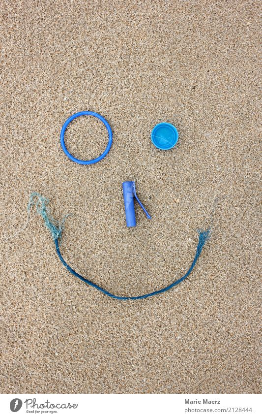 Plastic beach finds as a laughing face Sand Beach Laughter Make Playing Cool (slang) Happiness Broken Blue Virtuous Responsibility Joy Environment