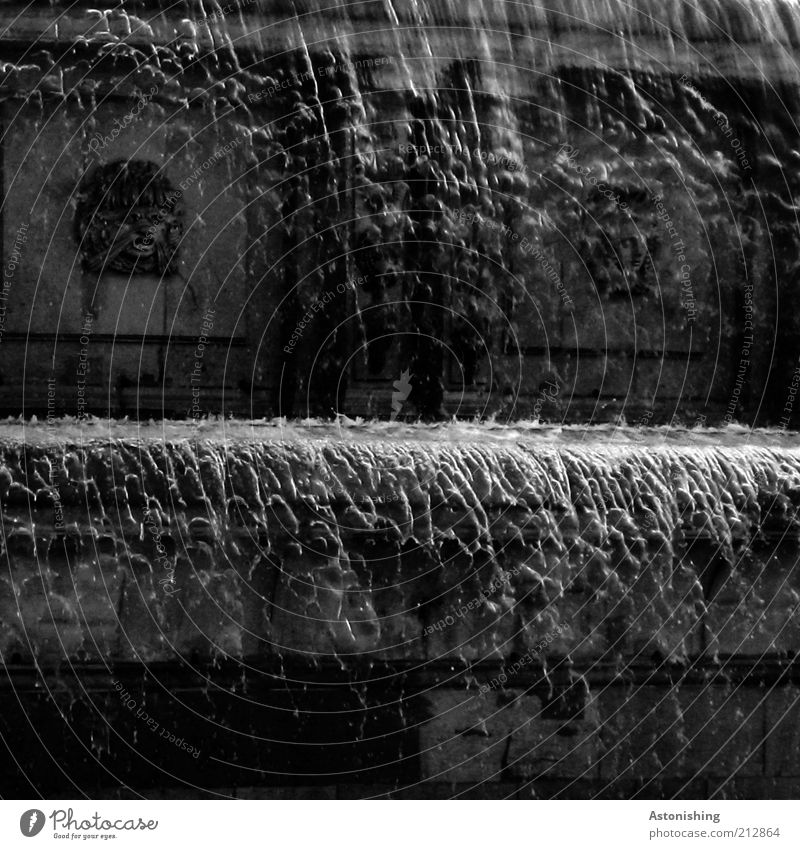 Water White Black Gray Stone Drops of water Wet To fall Manmade structures Well Transparent Silver Damp Section of image Flow Inject