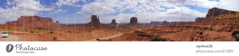 Monumet Valley USA Wide angle Clouds Red stones Mountain Monument Valley Sky