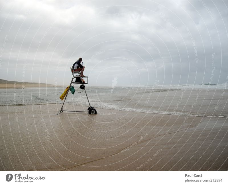 Human being Man Vacation & Travel Ocean Beach Clouds Loneliness Adults Far-off places Sand Moody Waves Sit Masculine Tourism Safety