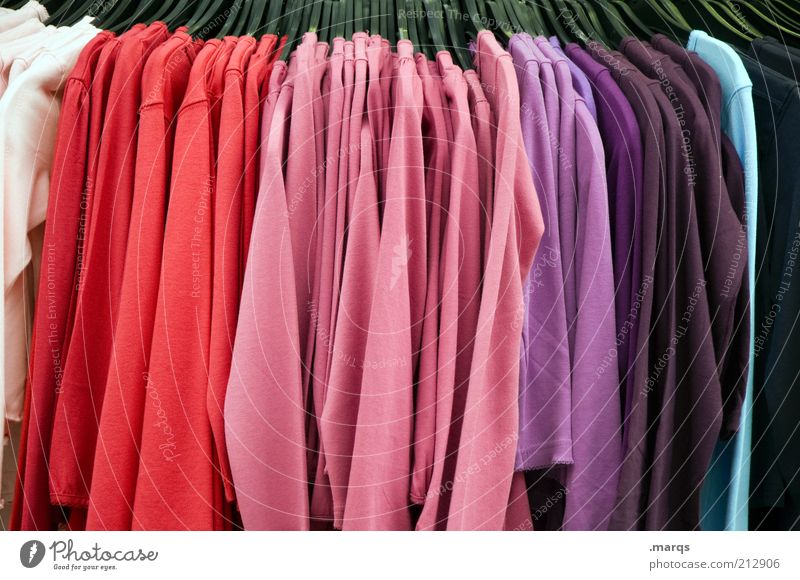 summer sale Lifestyle Trade Fashion Clothing T-shirt Sweater Hallstand Hang Hip & trendy Clean Multicoloured Colour Color gradient Cheap Colour photo Close-up