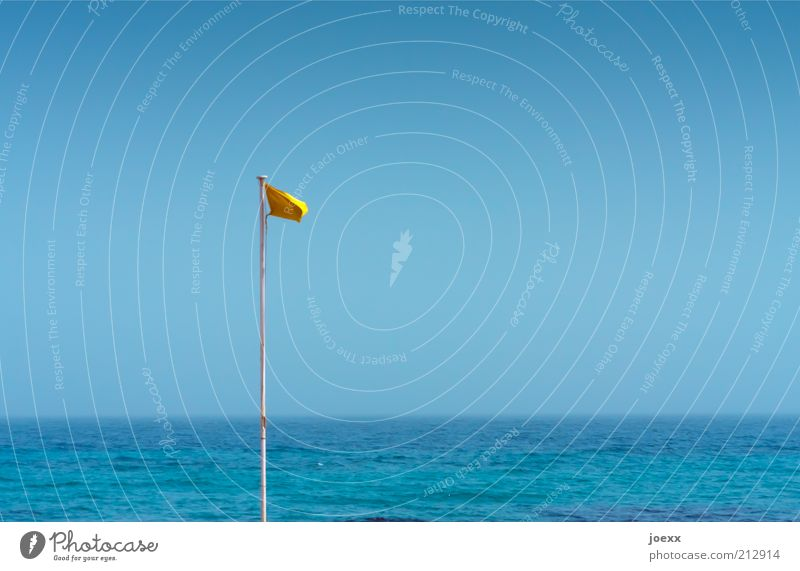 The Yellow Flag Sky Cloudless sky Summer Beautiful weather Coast North Sea Baltic Sea Ocean Lake Fluid Blue Safety Attentive Watchfulness Freedom Horizon