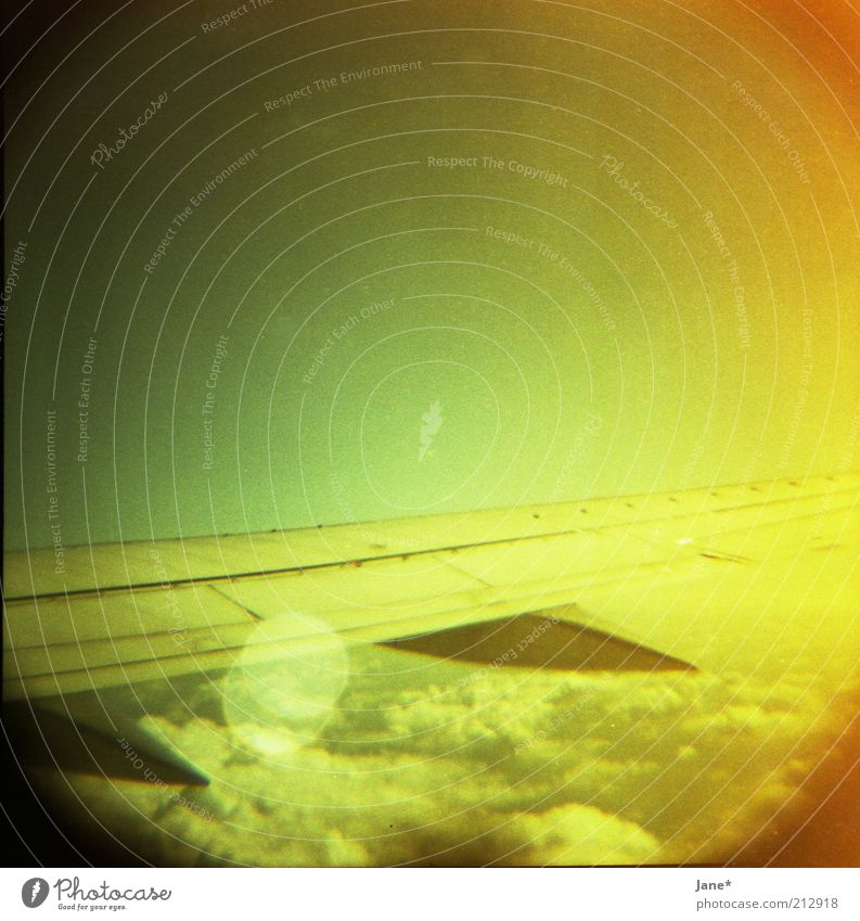morning elegance Sky Clouds Beautiful weather Aviation View from the airplane Emotions Moody Wanderlust Colour photo Multicoloured Lomography Deserted Dawn