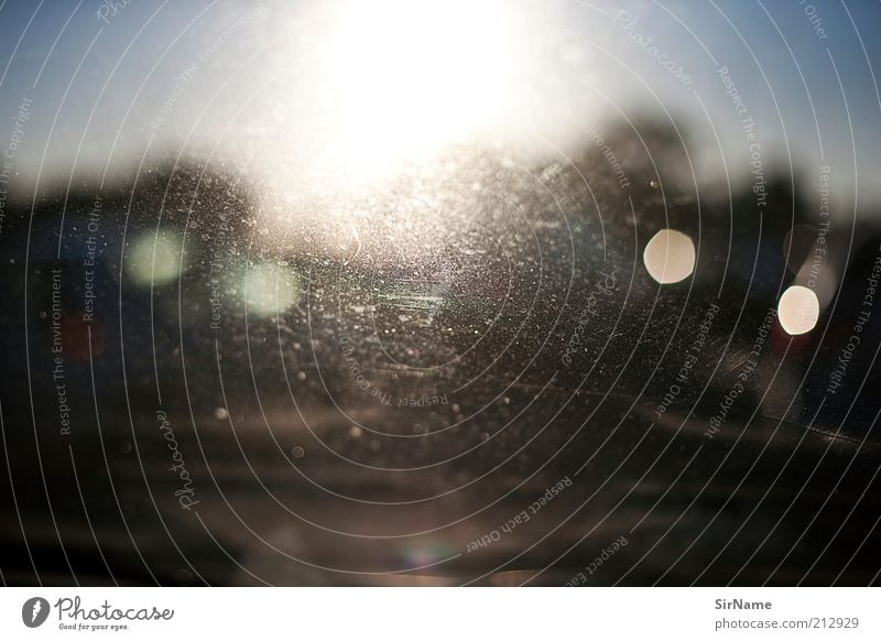 Sun Lanes & trails Car Window Horizon Illuminate Perspective Threat Target Stagnating Dazzle Feeble Road traffic Diffuse Unclear Brilliant Lens flare
