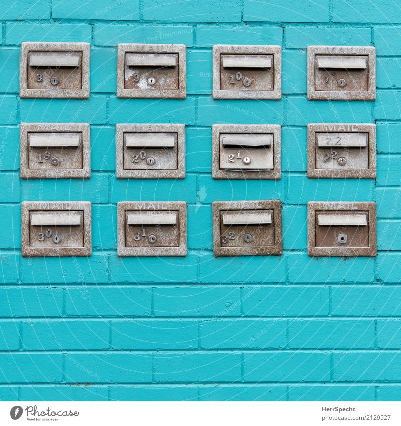 Post Boxes Town Manmade structures Building Wall (barrier) Wall (building) Facade Mailbox Metal Sharp-edged Small Many Gray Turquoise Apartment house