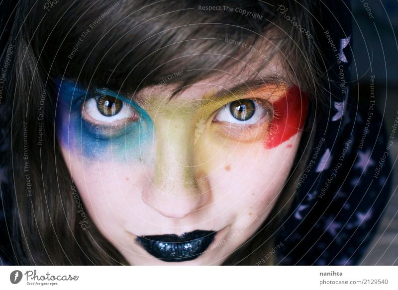 Young woman with rainbow make up Exotic Skin Face Make-up Lipstick Carnival Human being Feminine Youth (Young adults) 1 18 - 30 years Adults Hooded (clothing)