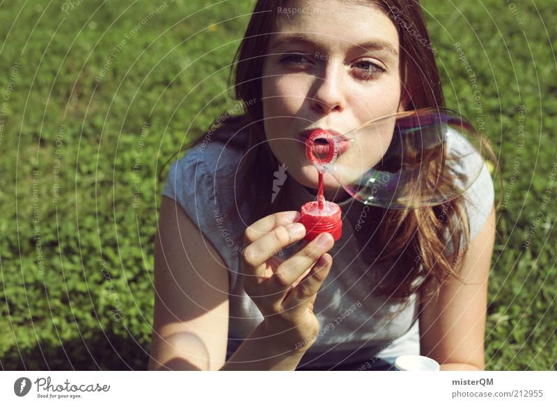 bubble. Esthetic Contentment Elegant Relaxation Exotic Modern Soap bubble Bubble Freedom Joy Woman Future Vacation & Travel Leisure and hobbies Casual clothes