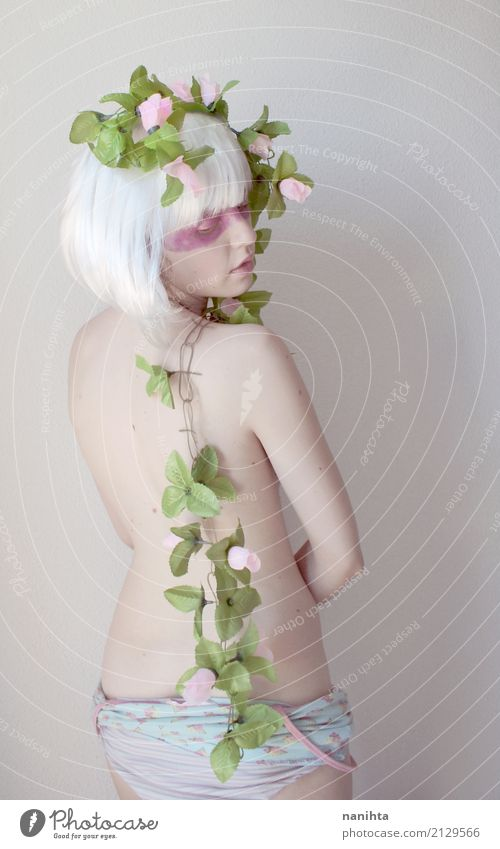 Back view of an artistic and fantasy portrait Human being Nature Youth (Young adults) Naked Young woman Beautiful Green Flower Leaf 18 - 30 years Adults