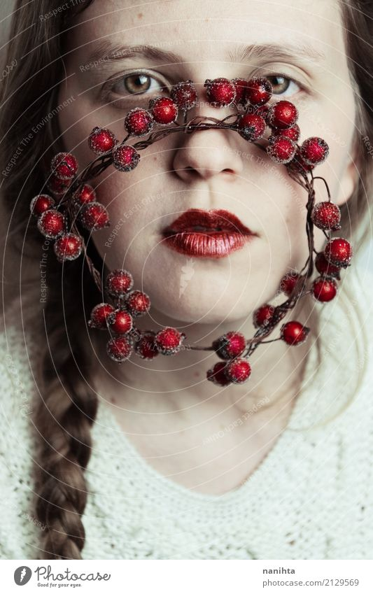 Artistic portrait with winter inspiration Beautiful Skin Face Lipstick Christmas & Advent Human being Feminine Young woman Youth (Young adults) 1 18 - 30 years