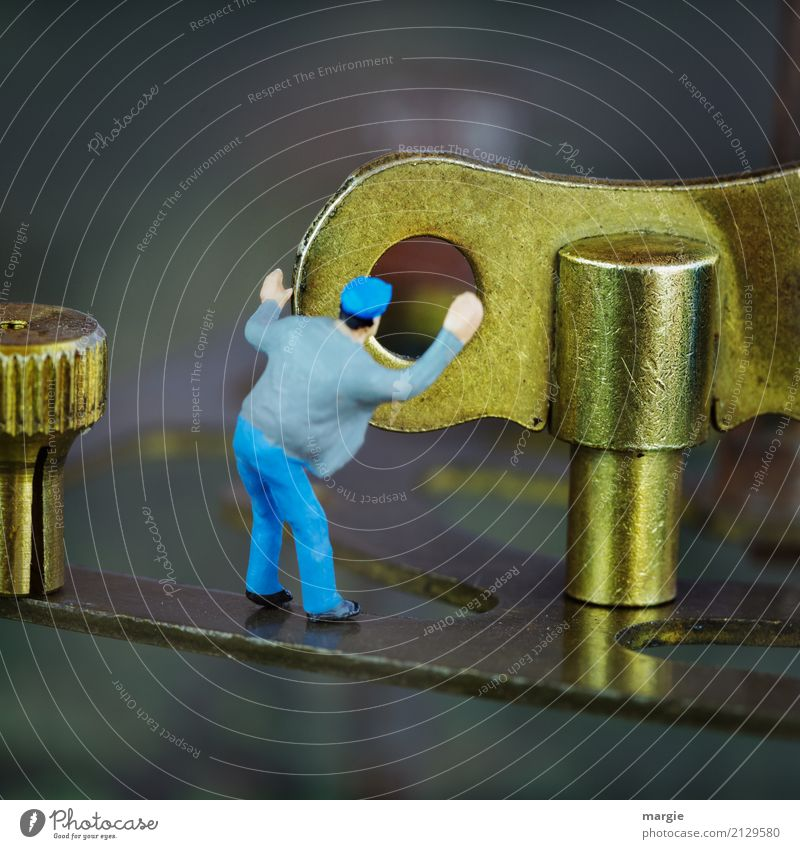 Human being Man Blue Adults Masculine Gold Energy industry Technology Machinery Engines