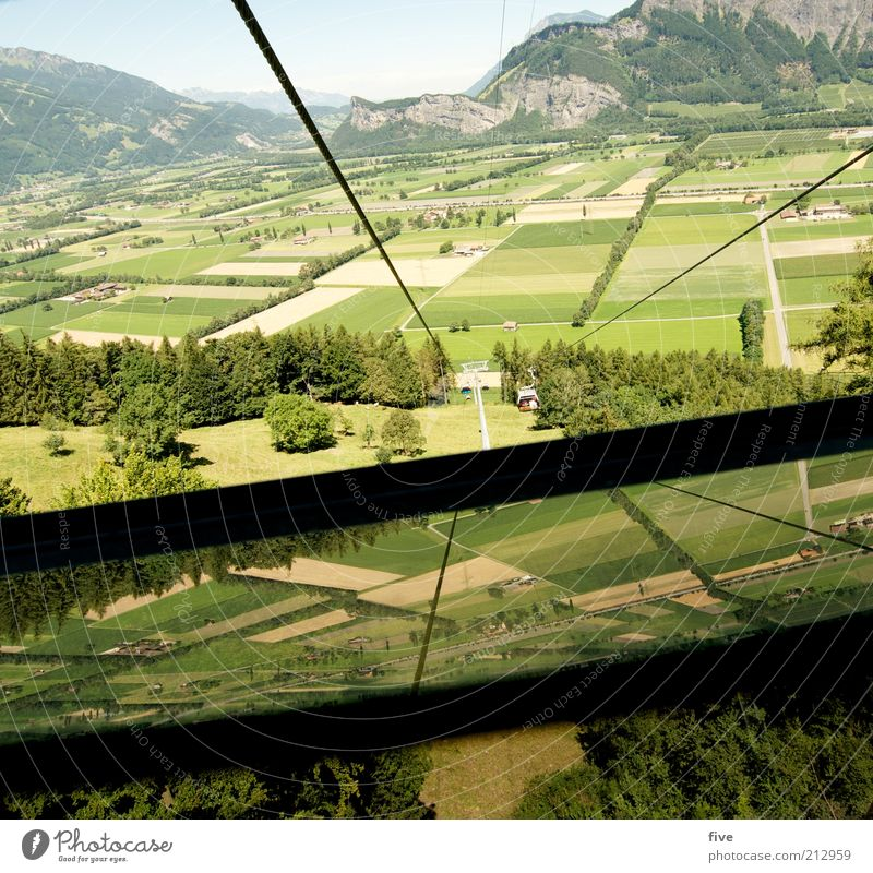 down into the valley Environment Nature Landscape Sky Summer Beautiful weather Plant Tree Grass Meadow Field Hill Rock Mountain Tall Vertigo Rope Cable car