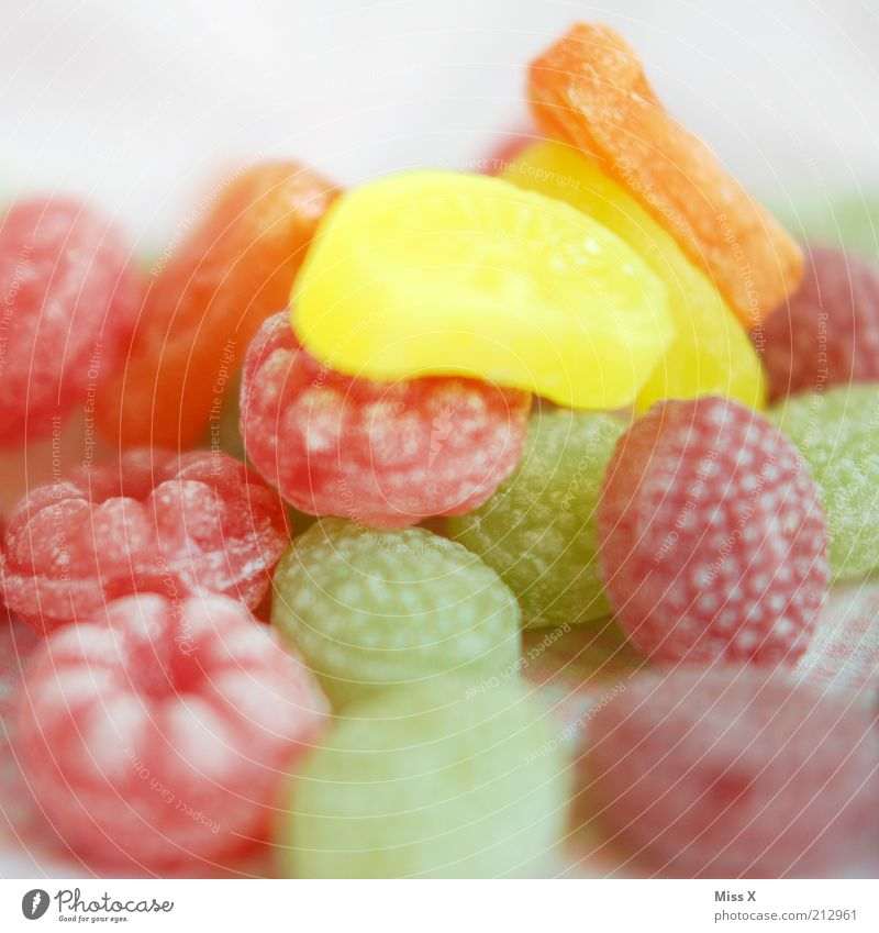 colorful tooth decay Food Fruit Candy Nutrition Delicious Sour Sweet Sugar raspberry candy Raspberry Unhealthy Sticky Colour photo Multicoloured Interior shot