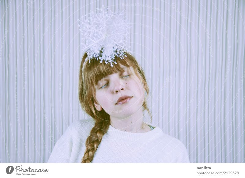 Young blond woman with a snowflake over her head Human being Youth (Young adults) Young woman Christmas & Advent White Relaxation Calm Winter 18 - 30 years