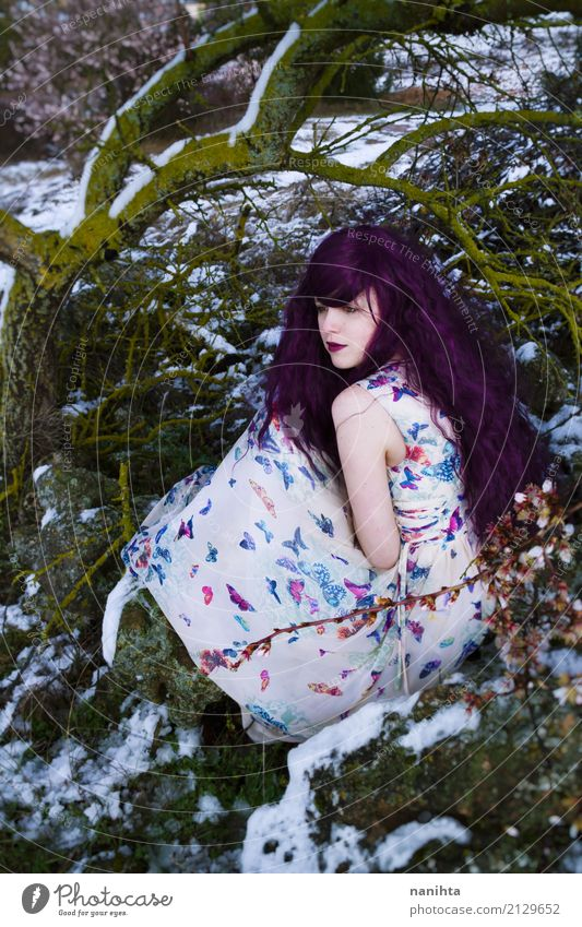 Young woman who looks like a fairy in a snowy forest Human being Nature Youth (Young adults) Tree Flower Calm Winter Forest 18 - 30 years Adults Environment