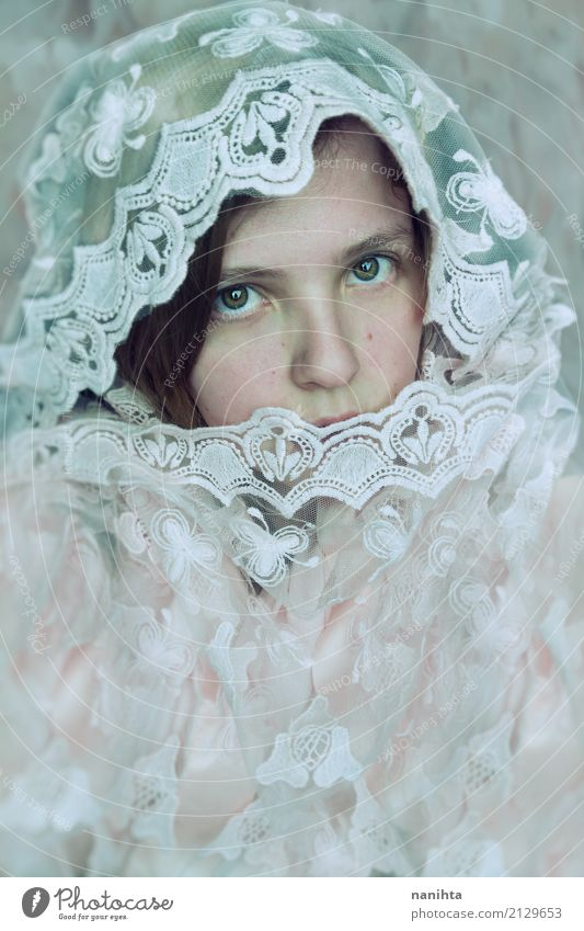 Young and shy woman covered by a lace cloth Human being Youth (Young adults) Young woman Beautiful White 18 - 30 years Face Adults Eyes Feminine Pink Elegant