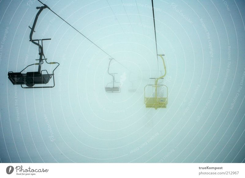 Winter Loneliness Dark Cold Snow Mountain Gray Air Fog Wait Exceptional Rope Cable Alps Serene Watchfulness