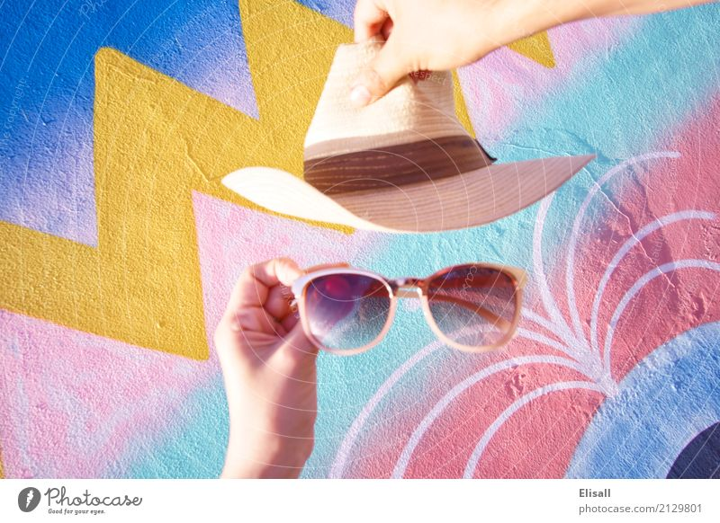 Summer fun hat and sunglasses Vacation & Travel Town Calm Joy Lifestyle Wall (building) Style Art Happy Wall (barrier) Tourism Fashion Adventure Uniqueness Idea