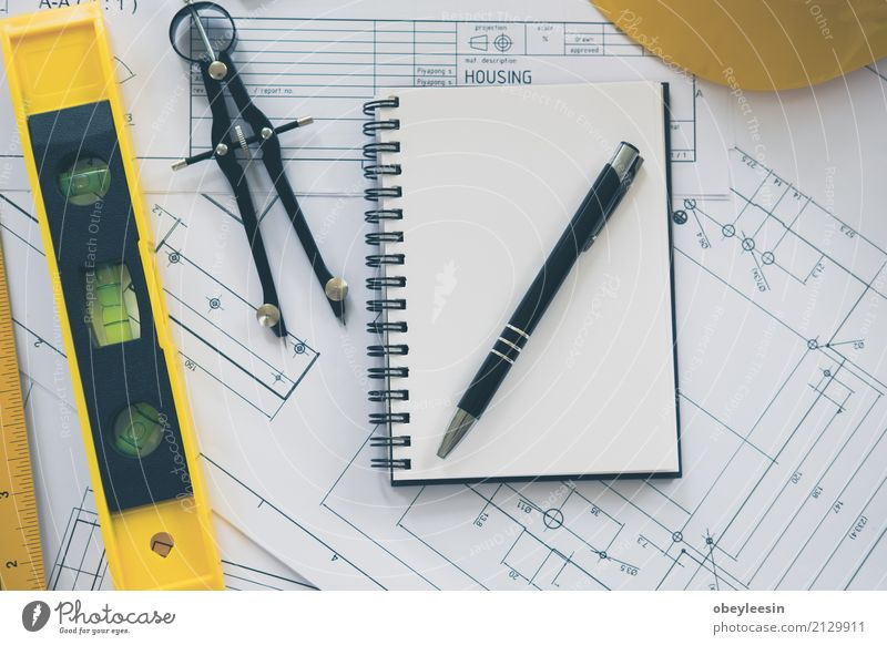 Architecture, engineering plans and drawing equipment Man Blue Hand Adults Building Business Design Work and employment Copy Space Office Technology Computer