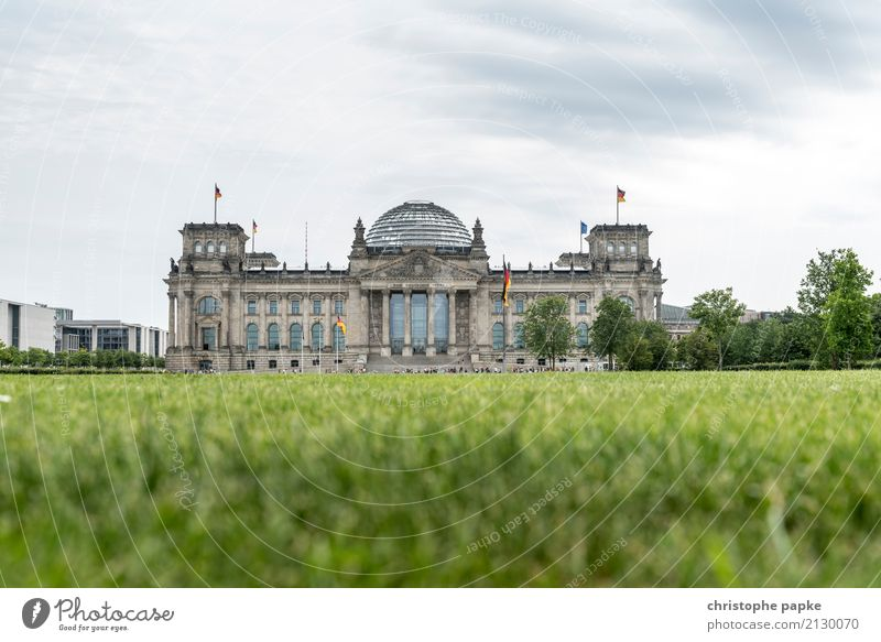Berlin Reichstag building from a frog's eye view Architecture Bundestag Seat of government Government Palace Copy Space German Flag Deserted Landmark