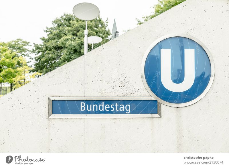 Bundestag under Town Capital city Berlin Reichstag Subway station Signs and labeling Concrete Public transit Politics and state Government Colour photo