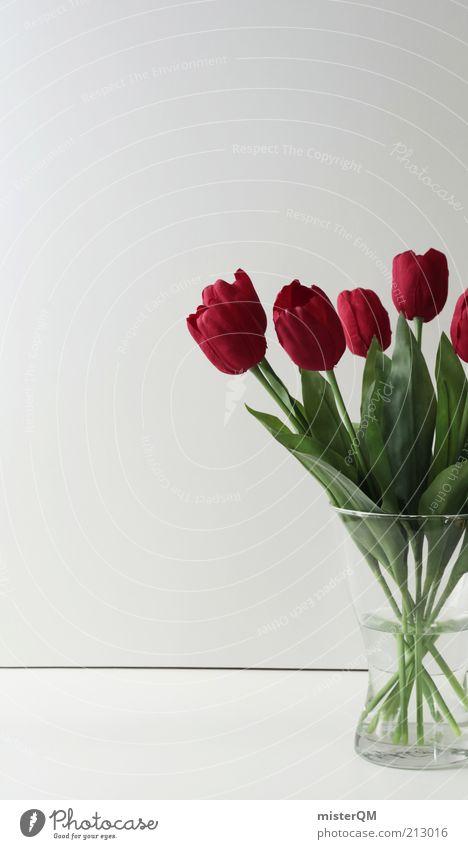Always fresh. Plant Thrifty Esthetic Design Kitsch Flower Bouquet Flower stalk Tulip Red Artificial flowers Vase Decoration Fresh Modern Spring Mother's Day