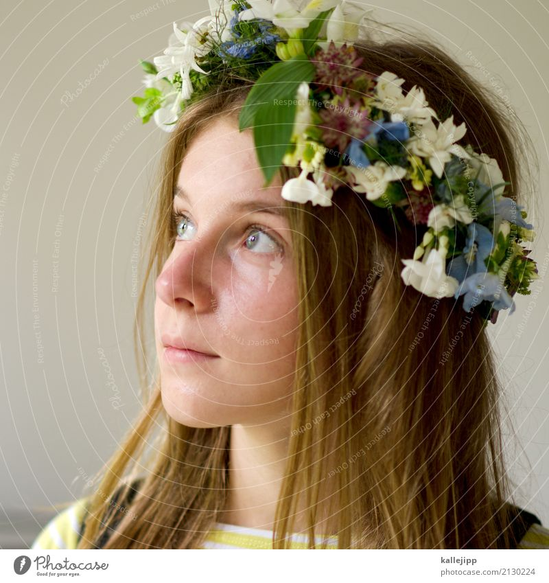 Girl with wreath of flowers in her hair Harmonious Well-being Human being Child girl Infancy Youth (Young adults) Life Head Hair and hairstyles Face Eyes Nose