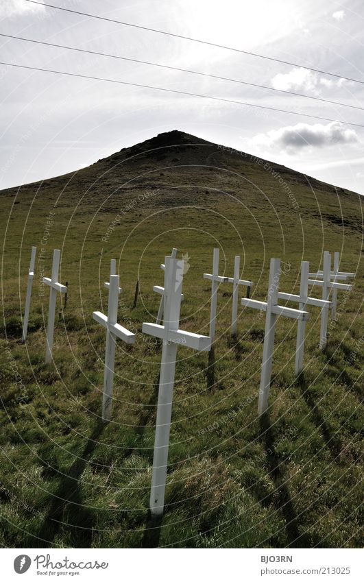 Silence | Iceland Gloomy Gray Green White Emotions Moody Sadness Grief Death Apocalyptic sentiment Religion and faith Transience Meadow High voltage power line