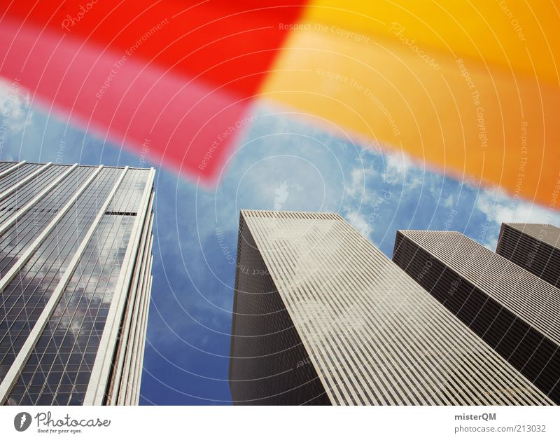 City Red Yellow Orange Art Design High-rise Tall Esthetic USA Exceptional Creativity Upward Idea