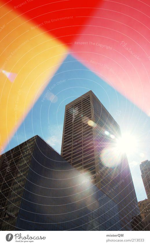 Sun City Red Yellow Orange Art Architecture Design High-rise Tall Esthetic USA Exceptional Creativity Upward