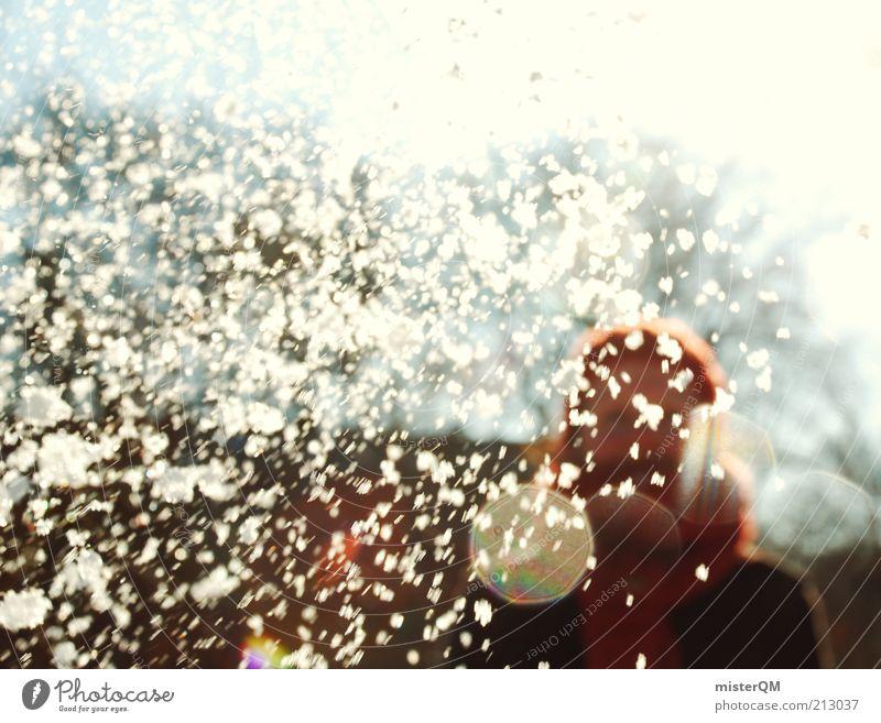 Woman White Winter Joy Life Cold Snowfall Art Esthetic Crazy Cap November Inject Scarf Strike