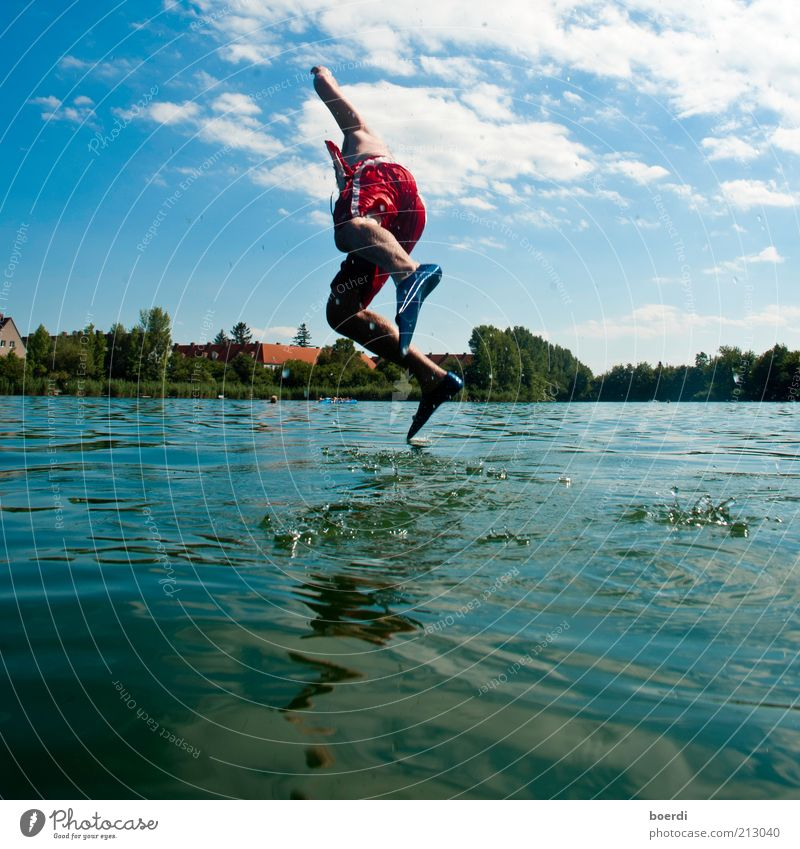Human being Man Nature Water Blue Summer Joy Life Adults Jump Happy Lake Leisure and hobbies Wet Flying Walking