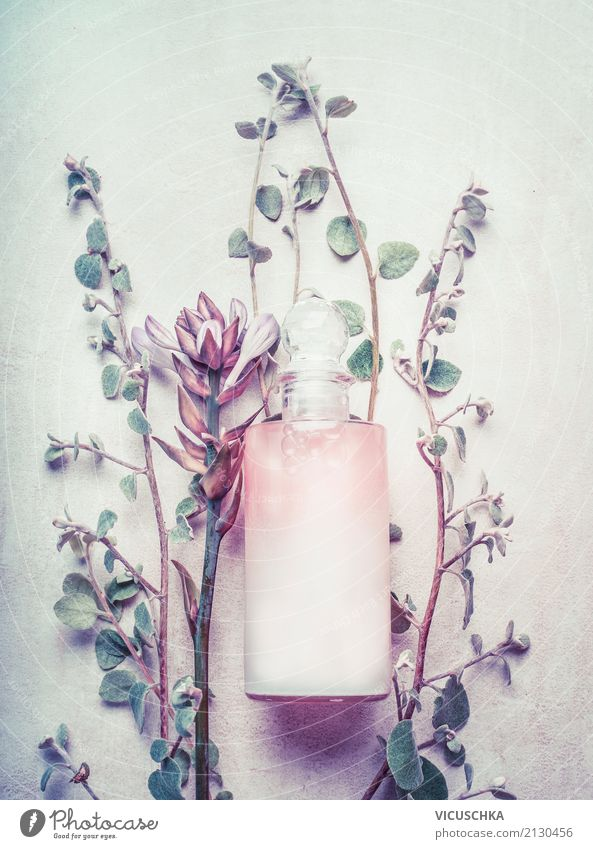Natural cosmetics in the bottle with herbs and flowers Lifestyle Style Design Beautiful Personal hygiene Cosmetics Perfume Cream Healthy Wellness Fragrance Spa