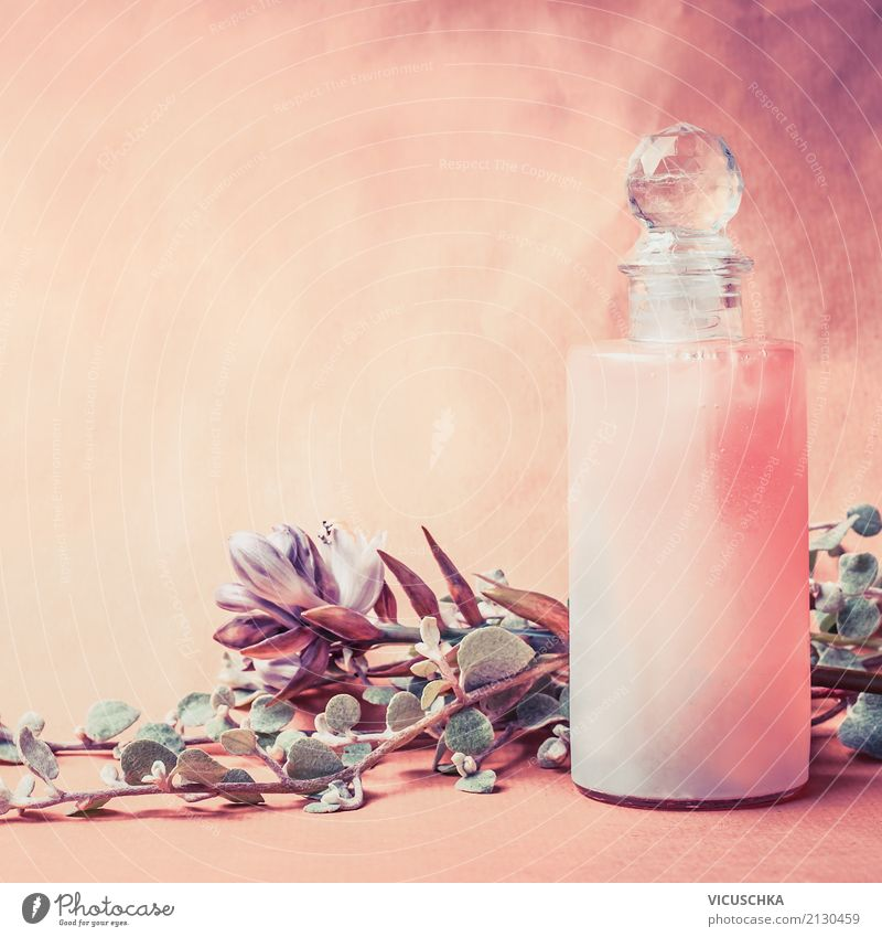 Natural cosmetics bottle with herbs and flowers Style Design Beautiful Personal hygiene Cosmetics Perfume Cream Healthy Alternative medicine Wellness Spa