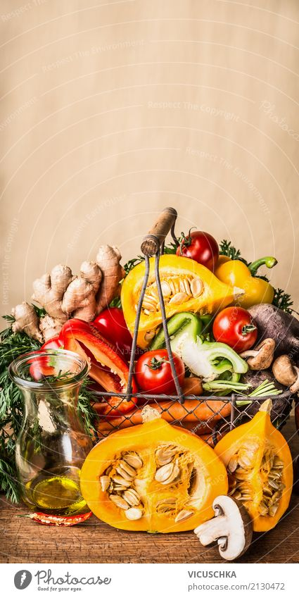 Basket with seasonal harvest vegetables and pumpkin Food Vegetable Herbs and spices Cooking oil Nutrition Lunch Organic produce Vegetarian diet Diet Shopping