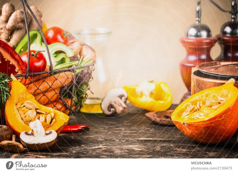 Pumpkin and autumn vegetables on the kitchen table Food Vegetable Herbs and spices Cooking oil Nutrition Lunch Dinner Organic produce Vegetarian diet Diet