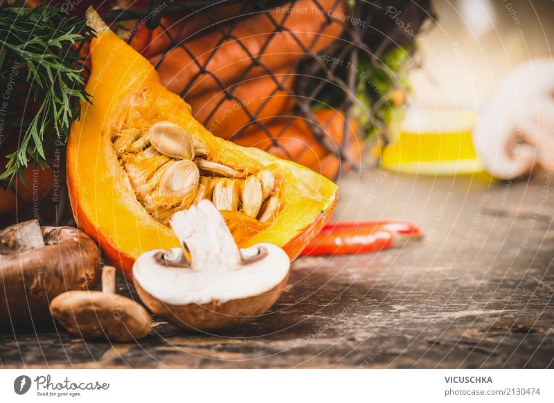 Close-up of pumpkin preparation on the kitchen table Food Vegetable Nutrition Organic produce Vegetarian diet Diet Style Design Healthy Healthy Eating Life