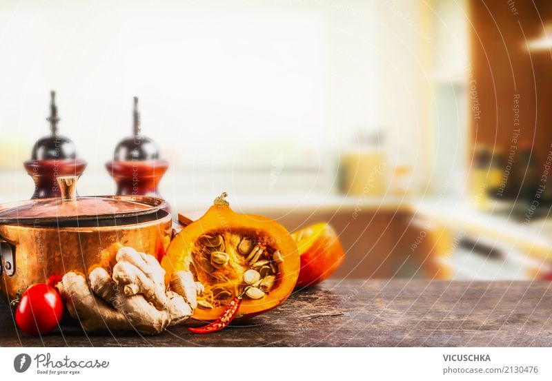 Pumpkin and pot on kitchen table Food Vegetable Herbs and spices Nutrition Organic produce Vegetarian diet Diet Pot Style Design Healthy Eating Life