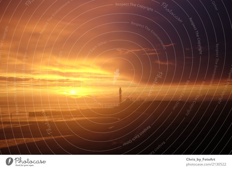 chris_by_photoart Nature Sky Clouds Night sky Beautiful weather North Sea Ocean western chapel Netherlands Europe Lighthouse Fantastic Colour photo