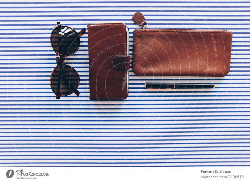 Super Still Life (01) Paper Elegant Leather Leather bag mobile phone bag Cellphone Sunglasses Pen Fountain pen Ballpoint pen Noble Brown Striped Design