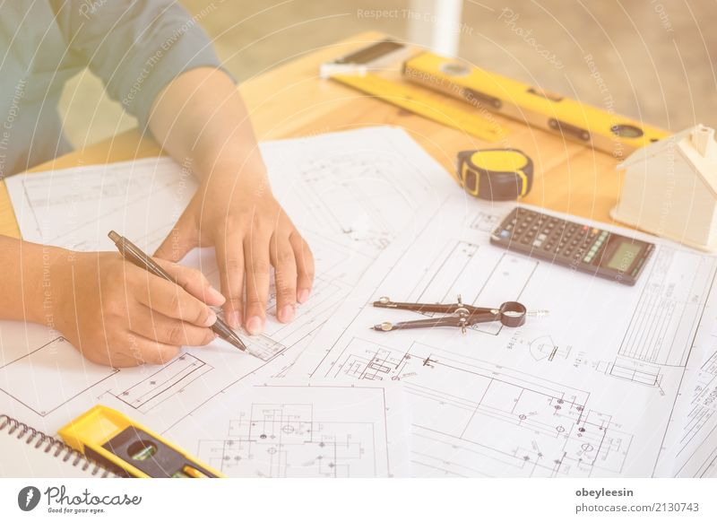 Architect or planner working on drawings for construction Human being Man Blue Hand Adults Architecture Building Business Design Work and employment Copy Space